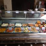 the display cabinet with the food