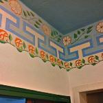 Bathroom ceiling with original Julia Morgan trim restored