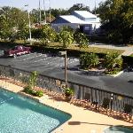 Hotel pool, bike trail and bike hire