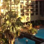 View of the pool area from the doorway of room 454 in Suites Bulding.