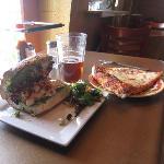 tasty chicken pesto sandwich and pizza