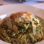pesto angel hair pasta with chicken anchovies and almonds