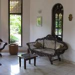 Carved wooden sofa made by craftsmen from Ahungalla.       from Ahungalla.
