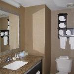 Bathroom with granite vanity tops