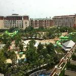View of the new water theme park from Hotel Equarius