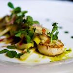 Pan Fried Scallops on Pea Puree with Apple and Radicchio Salad - starter