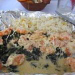 Red Snapper in foil with spinach and shrimp