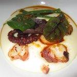 Smoked potato mash with squid