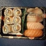 A Typical Edo Sushi box with contents that change each month