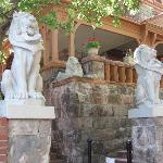 Entry to the site with lion sculptures.