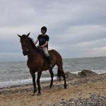 Me on horseback on the beach at Kiltennel
