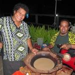 Waitress Aggie with musician and Kava bowl