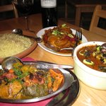 the chicken with vine leaves, the lamb shanks and  the goat