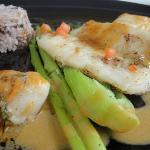 Fish with red wild rice