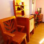 Chair and small refrigerator
