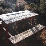 Morning frost on the pic-nic table