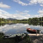 Cabin dock with canoe