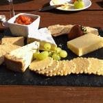 Lunch in the garden - cheeseboard & wine!