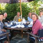 Guests at breakfast in the courtyard