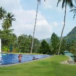 beautiful terraced pool area