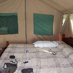 our tent with shower and toilet at the back area.