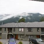 View of the mountain from the balcony, in cloud, so no paragliders!!