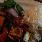 Nasi with tahu goreng