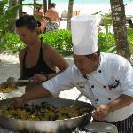 -Paella sur le bord de la mer