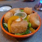 Crunchy tofu with su-miso sauce (mustard-vinegar miso sauce)