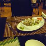 Unfamiliar with Japanese food, our colleague thought that the green stuff next to his sushi was