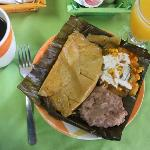 The best breakfasts ever--on this day, it was chicken tamales, sauteed veggies and refried beans