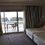 Glazed view onto a huge well furnished balcony