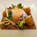 Slow cooked duck egg and confit duck leg starter