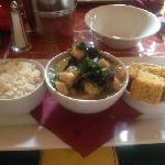 Seafood Gumbo, Rice & Corn Bread. Amazing!!