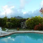 Blick vom Lanai auf Pool,Garten und Olomana