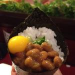 Natto maguro hand roll with quail egg. Wow!