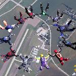 """A group of licensed jumpers make a """"round"""" over Chicagoland Skydiving Center in Rochelle, IL"""
