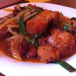 Crispy Pork Stir Fry (with ginger and spring onions)