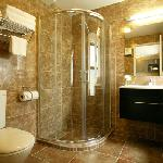 Our marble tiled bathrooms are fully equipped