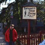 My husband outside the Farnsworth