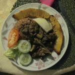 Curried Goat, Rice & Peas, Bread Fruit and Salad by Pauline