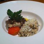Seabass, scallops (eaten!) and black truffle risotto. Yum!!