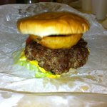 My burger. I added th eonion ring myself.