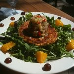 arugula salad with lobster cake and citrus salsa