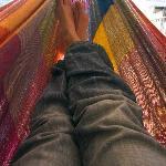 Relaxing in the rooftop hammock
