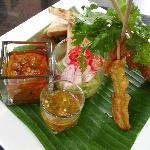 Pork Satay Dipped with Peanut Sauce and Cucumber Sauce