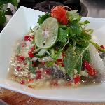 Steam Sea bass with lime juice Dressing