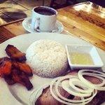 Roasted port, rice, black beans
