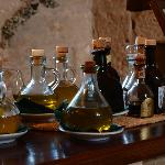 The olive oils in the dining room.