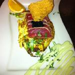 ahi tuna, wasabi omelet, caviar, eggs, goat cheese with avocado.  I opted out of toast and homef